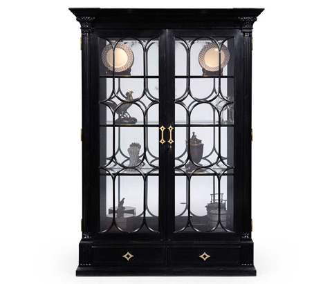 Jonathan Charles - Black Painted Display Cabinet with Column Detail - 494554