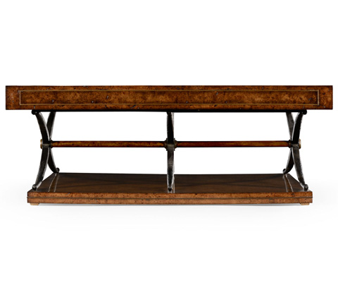 Jonathan Charles - Hammered Iron And Burl Square Coffee Table - 494633