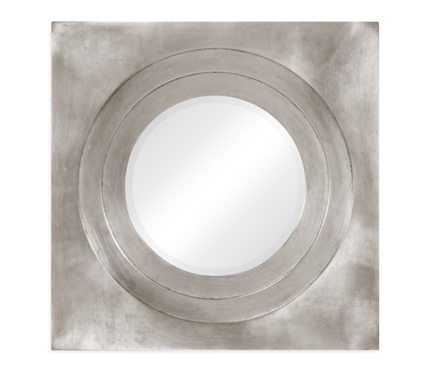 Jonathan Charles - Silver Framed Round Mirror - 494772-SIL