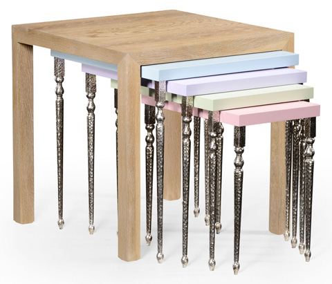 Jonathan Charles - Oak and Hammered Iron Coloured Five Nest of Tables - 494788