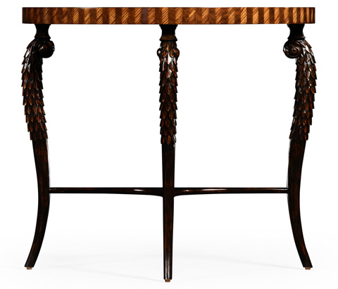 Jonathan Charles - Feather Inlay Hand Carved Console - 494956