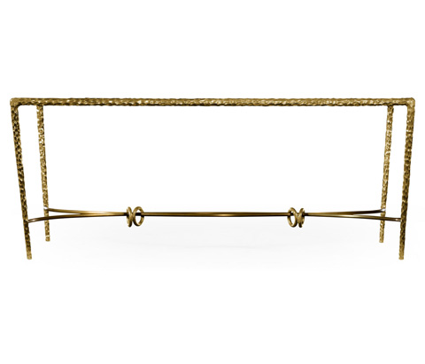 Jonathan Charles - Brass Hammered Rectangular Coffee Table - 495027-BRA