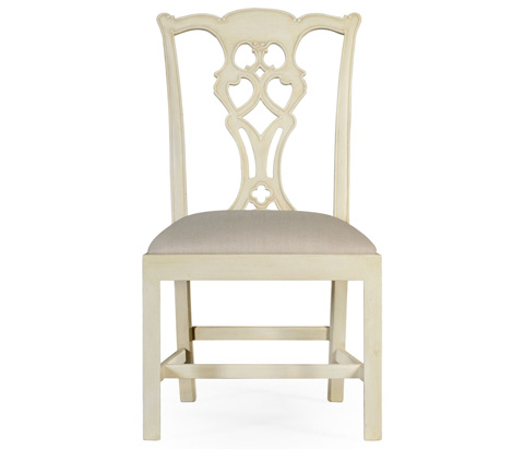 Jonathan Charles - Linen Painted Classic Walnut Side Chair - 495071-LIN-SC