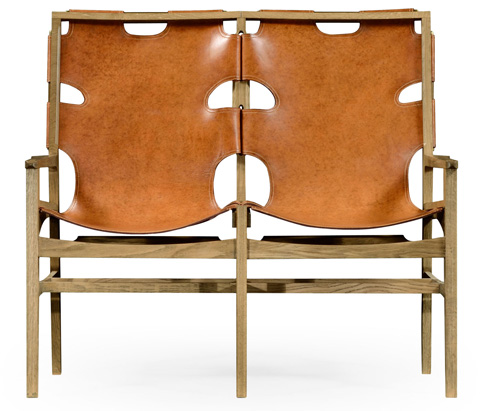 Jonathan Charles - Slung Leather Light Oak Two Seat Bench - 495099