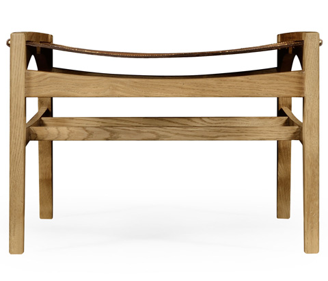 Jonathan Charles - Midcentury Style Slung Leather Light Oak Stool - 495113