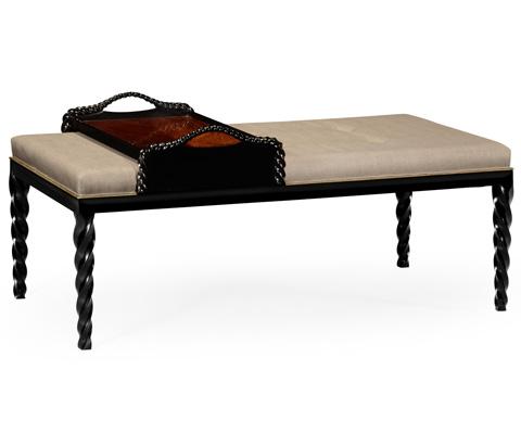 Jonathan Charles - Upholstered Ottoman with Tray Table - 495162-BLA