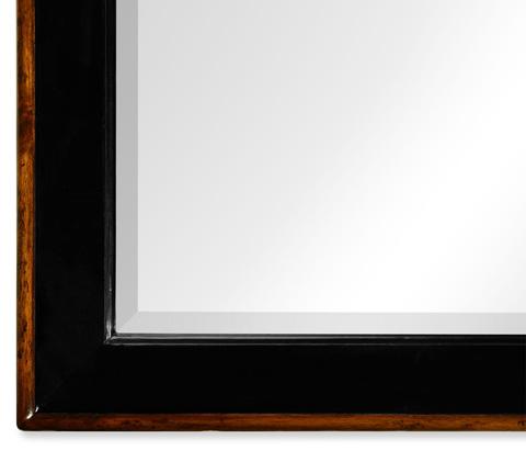 Jonathan Charles - Black And Walnut Rectangular Mirror - 495183