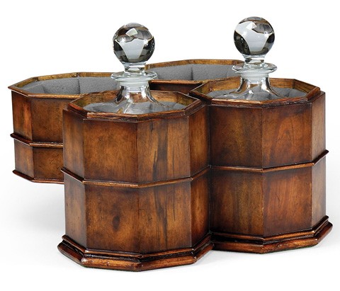Jonathan Charles - Pair Of Decanters In Walnut Case - 492981