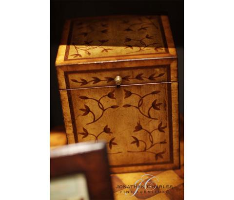 Jonathan Charles - Sheraton Style Square Marquetry Box - 493004