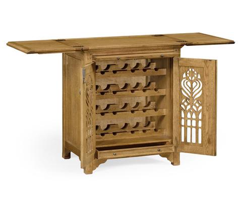 Jonathan Charles - Natural Oak Gothic Wine Cabinet - 493517-L