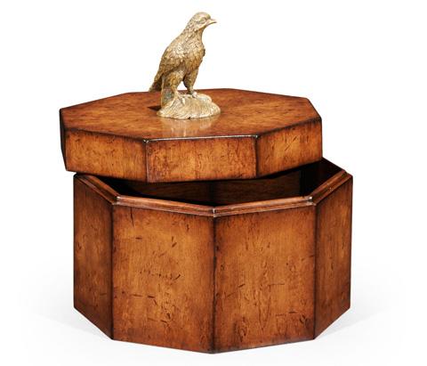 Jonathan Charles - Walnut Octagonal Box With Bird Finial - 493972