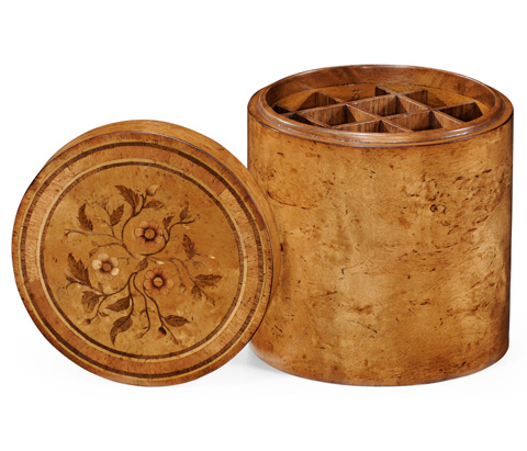Jonathan Charles - Burl Walnut Cylindrical Box With Floral Marquetry - 494094