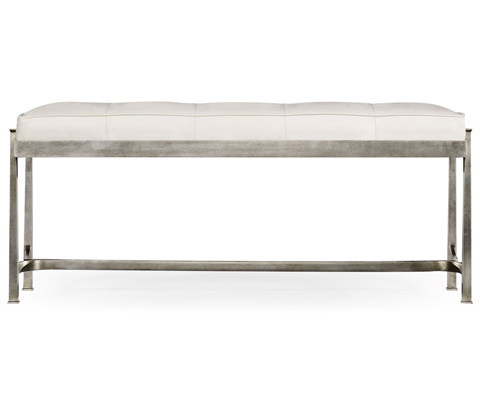 Jonathan Charles - Silver Iron and Leather Bench - 494150-S