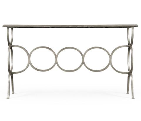 Jonathan Charles - Silver Iron Circles Console Table - 494156-S