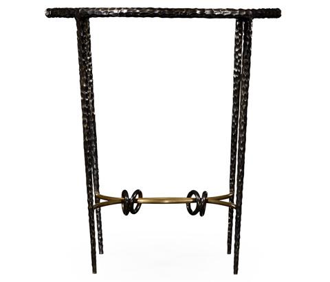 Jonathan Charles - Hammered Iron Circular Side Table - 495023-BRO