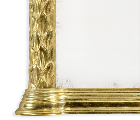 Jonathan Charles - Carved and Water Gilded Hanging Wall Mirror - 495146-WTG