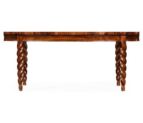 Jonathan Charles - Oval Walnut Twisted Leg Quatrefoil Coffee Table - 495155-WLL