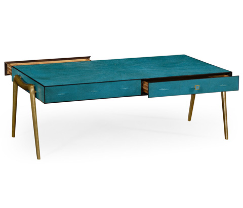 Jonathan Charles - Teal Faux Shagreen And Brass Legged Coffee Table - 495202