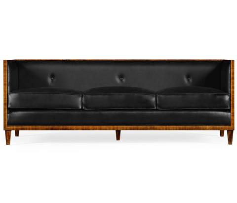 Jonathan Charles - Three Seater Transitional Sofa In Black Leather - 495296-BLL