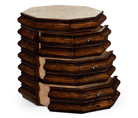 Jonathan Charles - Octagan Rustic Walnut End Table - 495319-RWL