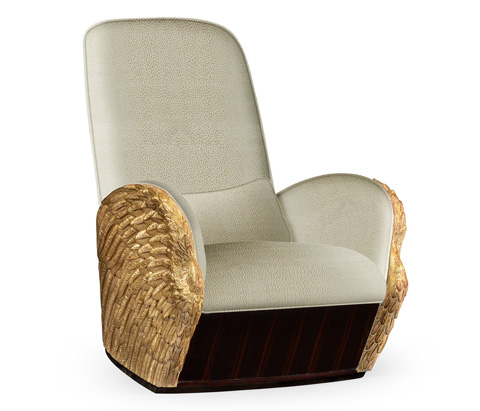 Jonathan Charles - Gold-Leaf Gilded Angel Wing Chair with Ottoman - 495349-GIL