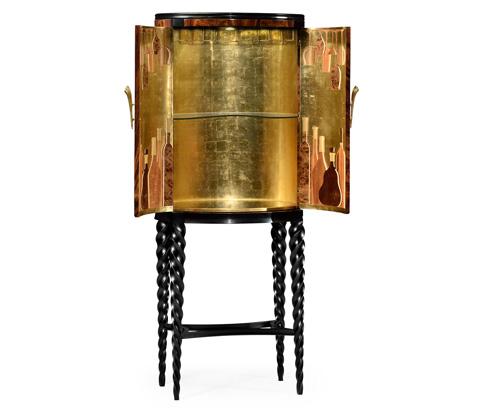 Jonathan Charles - Bar Cabinet with Black Twist Leg - 495378-BLA