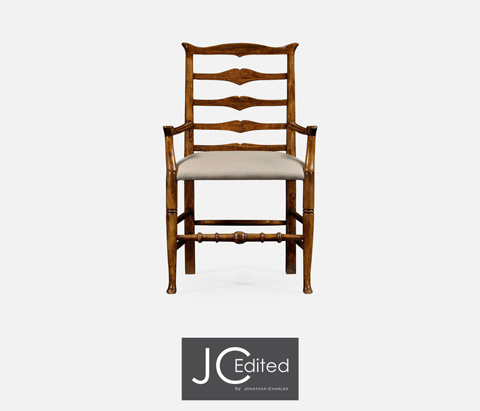 Jonathan Charles - Country Walnut Ladder Back Arm Chair - 491008-AC-CFW