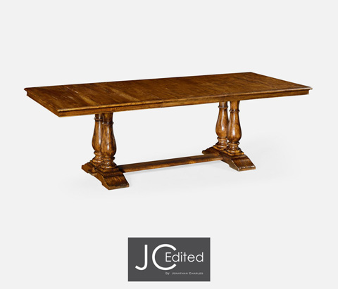 Jonathan Charles - Country Walnut Rectangular Extending Dining Table - 491019-CFW