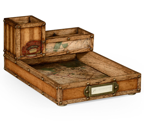 Jonathan Charles - Travel Trunk Style Desk Organizer - 494807