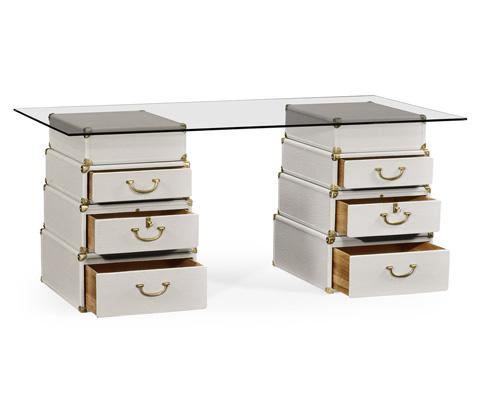 Jonathan Charles - Great White Faux Croc Valise Desk - 495423-WHT