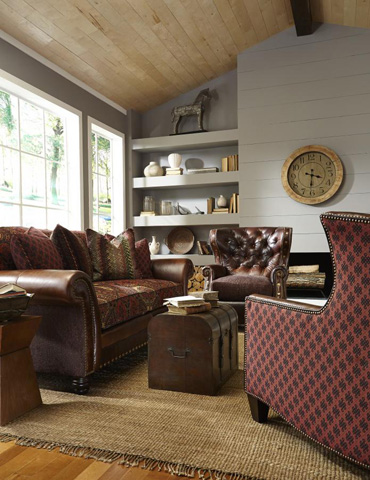 Image of Katherine Leather/Fabric Sofa