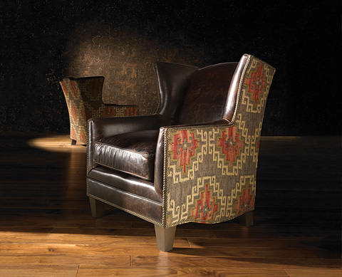 King Hickory - Athens Fabric and Leather Ottoman - 50778-LF