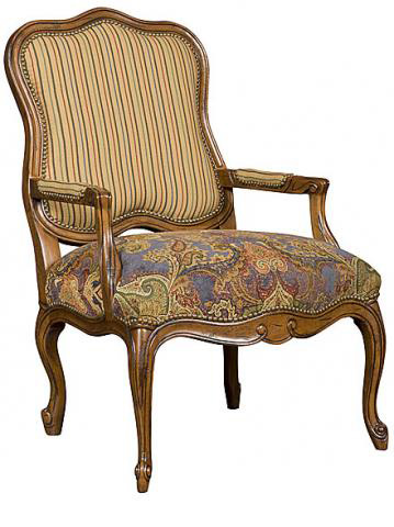 King Hickory - Vance Leather and Fabric Upholstered Chair - W-401-LF