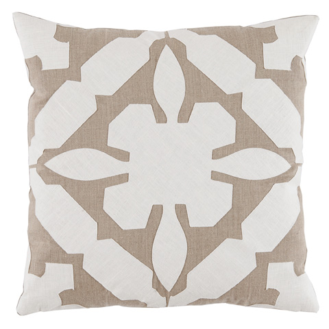 Lacefield Designs - Cream TanApplique Linen Pillow - D1019