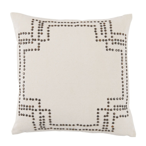 Lacefield Designs - Nailhead Silver Stud White Cotton Pillow - D1041