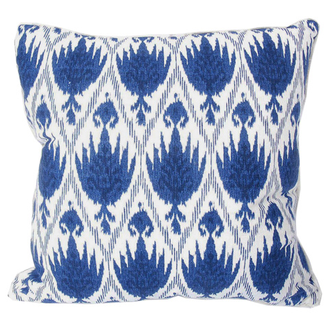 Lacefield Designs - Blue White Eyelash Trim Pattern Pillow - D311