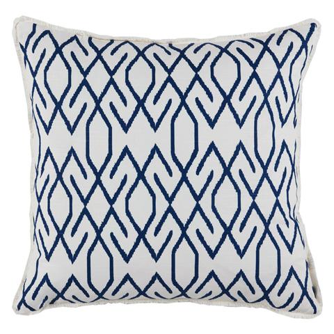 Lacefield Designs - White Blue Geometric Print Throw Pillow - D808