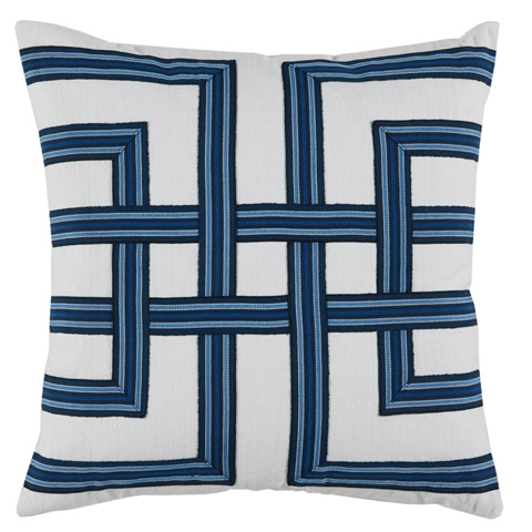 Lacefield Designs - Navy White Basket Weave Print Pillow - D847