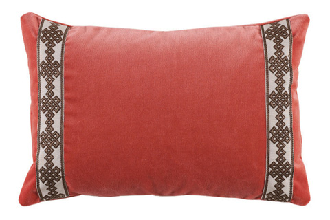 Lacefield Designs - Coral Velvet Charcoal Tape Border Lumbar Pillow - D870