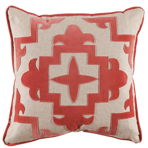 Lacefield Designs - CoralCream Velvet Applique Throw Pillow - D890