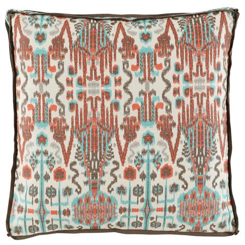 Lacefield Designs - Paprika Orange and Blue Mix Ikat Square Pillow - D923