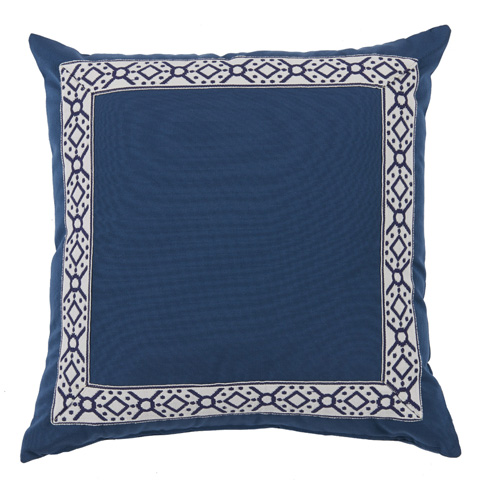 Lacefield Designs - Harbor Blue/Navy Print Tape Border Outdoor Pillow - OUT47
