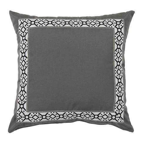 Lacefield Designs - Pewter Grey/Black Print Tape Border Outdoor Pillow - OUT50