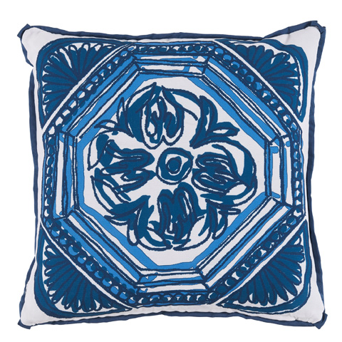 Lacefield Designs - Harbor Blue Floral Tile Reversible Outdoor Pillow - OUT59
