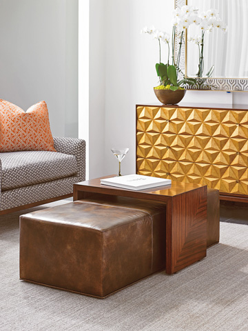 Lexington Home Brands - Broadway Leather Cocktail Ottoman - LL1784-25T