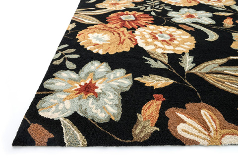 Loloi Rugs - Black and Floral Rug - FC-17 BLACK / FLORAL