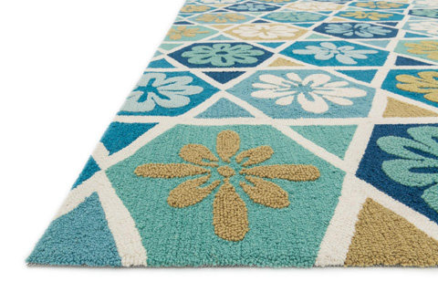 Loloi Rugs - Blue and Ivory Rug - HOL06 BLUE / IVORY