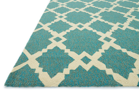 Loloi Rugs - Turquoise and Ivory Rug - HVT09 TURQUOISE / IVORY