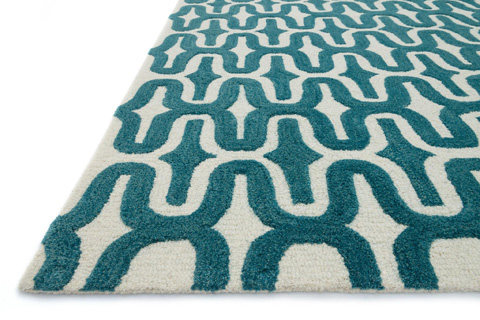 Loloi Rugs - Ivory and Teal Rug - HWS09 IVORY / TEAL
