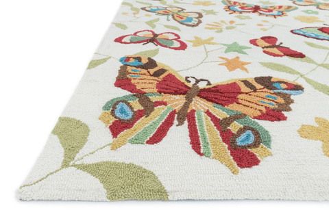 Loloi Rugs - Ivory and Butterfly Rug - JL-31 IVORY / BUTTERFLY